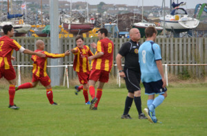 Holmes celebrates his first Newhaven goal.